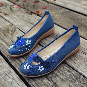 Image 2 - Veowalk Brand 3D Flowers Appliques Women Linen Slip on Ballet Flats Breathable Fabric Ladies Casual Chinese Shoes Ballerina