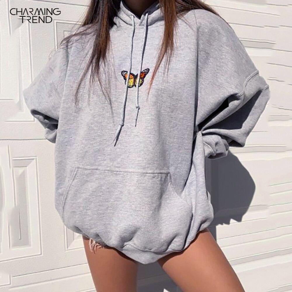 Oversized Women Hoodies Sweatshirts Casual Long Sleeve Hooded Butterfly Print Sweatshirts 2020 Autumn Winter Retro Ladies Loose
