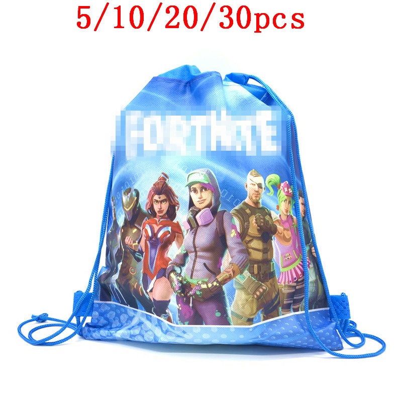 5/10/20/30PCS Birthday Decorate Baby Shower Drawstring Bag Boys Favors Fortress Night Gamepad Theme Non-woven Fabric Backpac