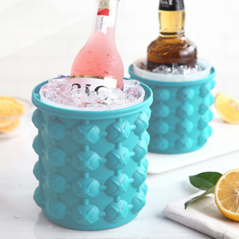 Silicone Ice Bucket Champagne Whisky Beer Ice Cube Maker Portable Bucket Wine Ice Cooler Beer Kitchen Tools Kitchen Accessorie(China)