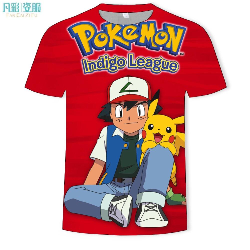 2019, de marca de moda para hombre Camiseta blanca, camiseta de Pokémon con cuello redondo, informal, camiseta de calle, camisetas para hombre