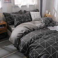 Simple Classic Queen bedding set 5 size bed linen 4pcs set duvet cover set Pastoral bed sheet AB side duvet cover black