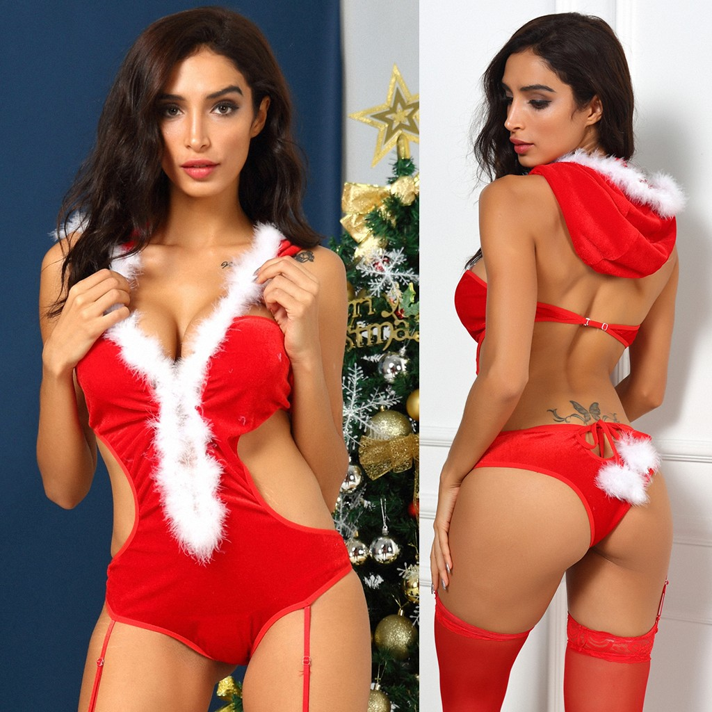 Christmas Costumes For Sex Womens Sexy Backless Lingerie Erotic Hooded Teddy Underwear Porno Sexy Langerie With Garter Babydoll