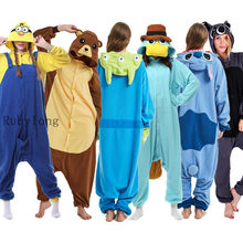 Erwachsene Pyjamas Frauen Männer Langarm Nachtwäsche Unisex Kigurumi Stich Pokemon Cartoon Tier Pyjama Sets Pijamas Kapuze Pyjamas(China)