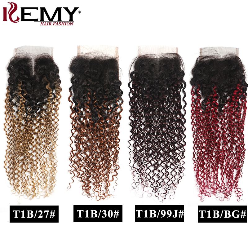 Kinky Curly Closure 4x4 Ombre Human Hair Swiss Lace Closure Free/Middle Part Lace Closure Non-Remy Brazilian Human Hair KEMY