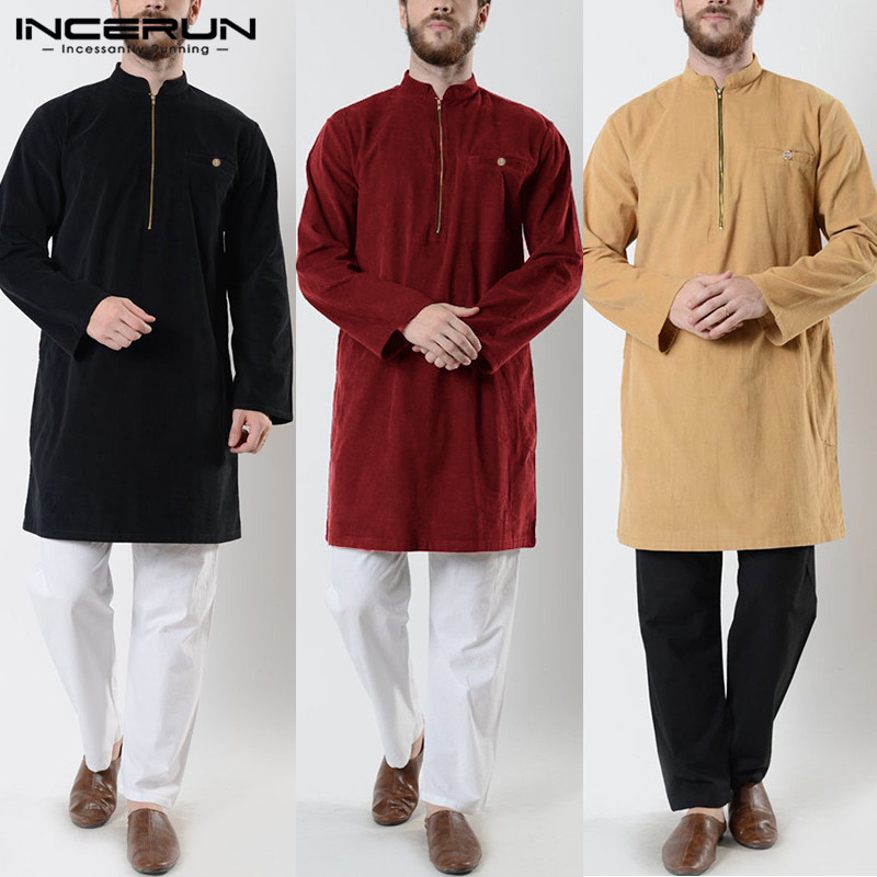 INCERUN Indian  Suit Vintage Mens Long Shirts Long Sleeve Retro Stand Collar Solid Color Shirts Men Zippers Muslim Clothing