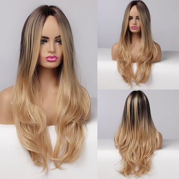 Long Wavy Ombre Brown Natural Wigs With Blonde Highlights Cosplay Synthetic Wigs Black Women Middle Part Heat Resistant Wigs wignee 3 tone ombre women wig black to brown blonde middle part heat resistant synthetic wigs cosplay hair for african american