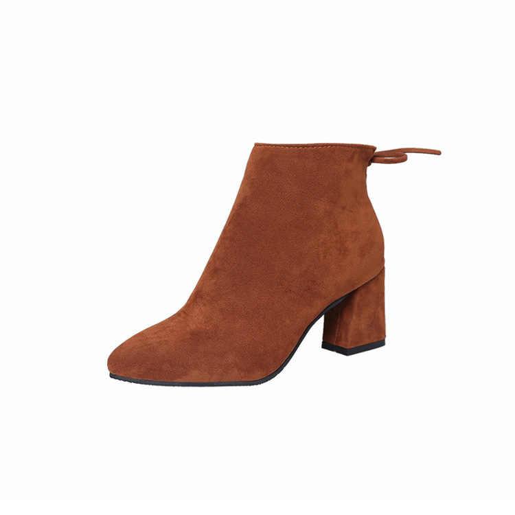 Phụ nữ Giữa Bắp Chân Màu Vàng Màu Mũi Nhọn Khóa Kéo Thu Mùa Xuân Nữ Giày Bốt Martin Casual cột dây Giày ty6