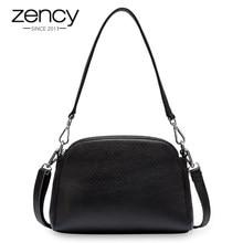 Zency 100% borsa a tracolla da donna in vera pelle di moda borse a conchiglia bianche due cerniere chiusura elegante borsa a tracolla nera