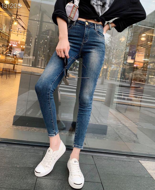 2020 Jeans Female Denim Pants Korean Fashion Pencil Pants Blue / Black / White Runway Animal Embroidery Denim Elastic Trousers
