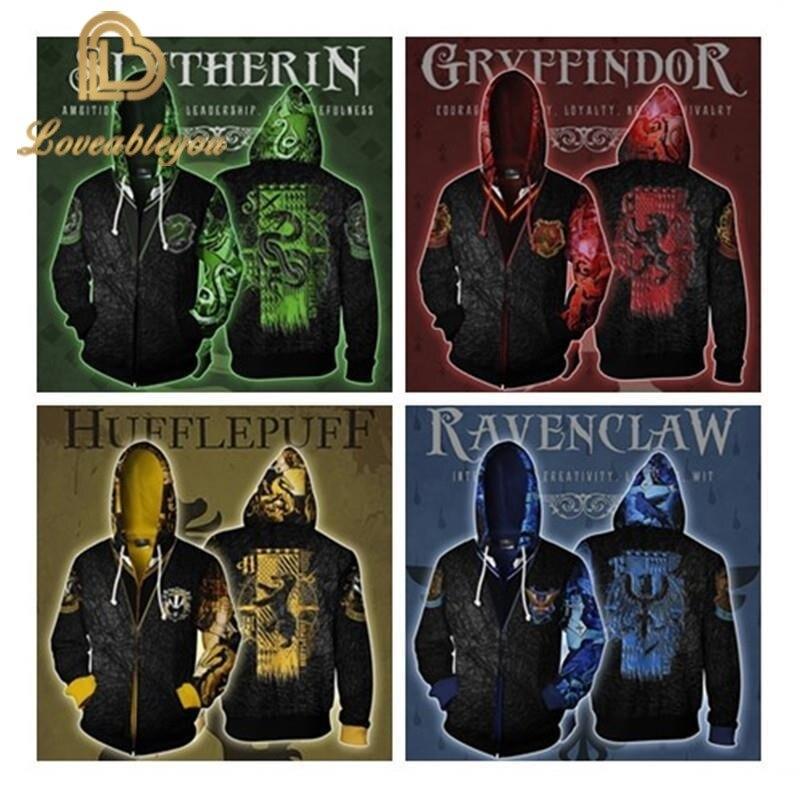 Hot Sale   Casual Hoodies Wizardry 3D Hoody Sweatshirt Hogwarts Ravenclaw Slytherin Gryffindor Hufflepuff Bundle's Streetwear