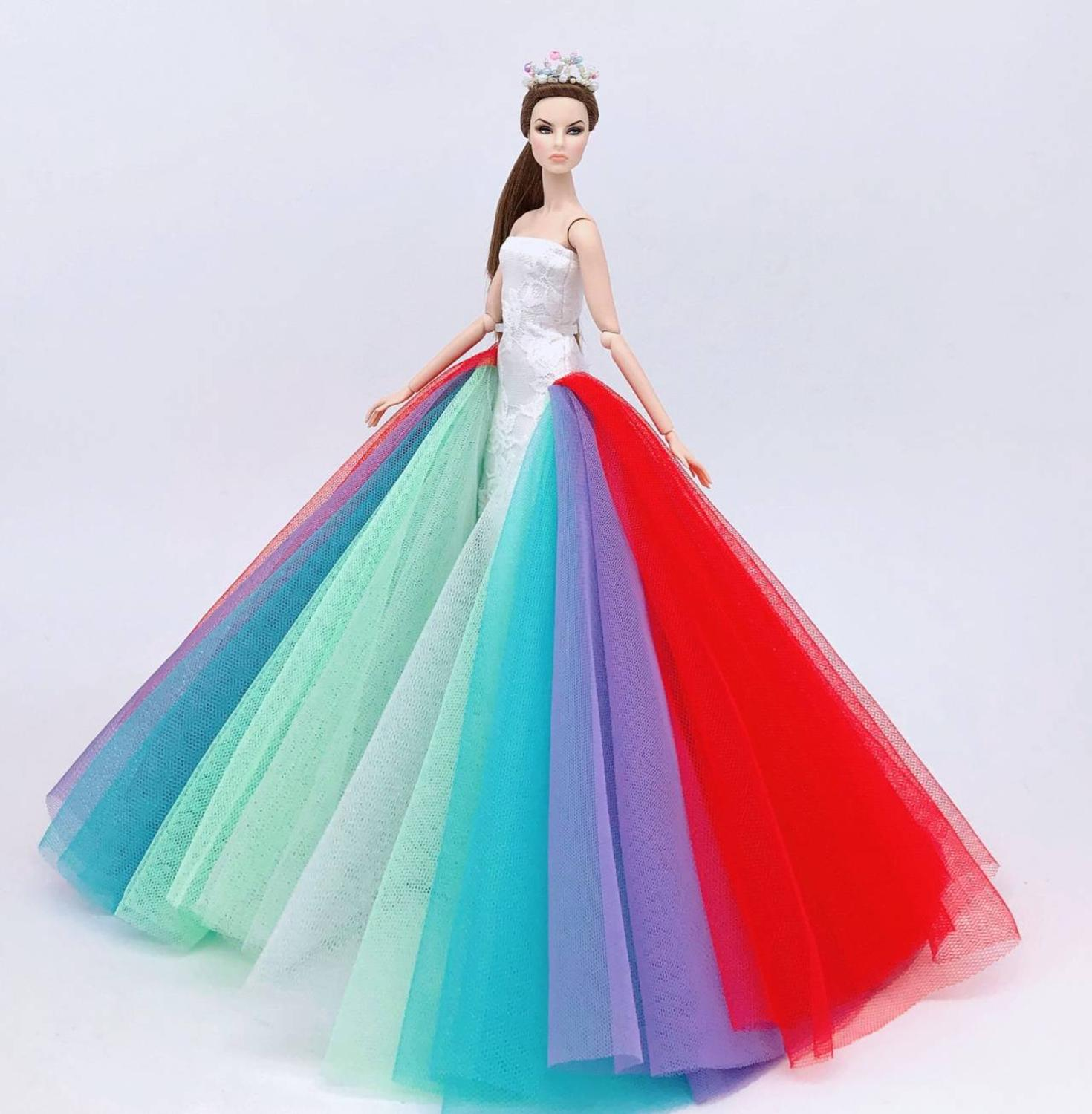 Genuine For Princess Clothes Barbie Doll Dress Bjd 1/6 Doll Accessories Clothing Party Gown Barbie Wedding Dress
