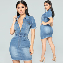 plus size women denim dress sexy jeans dress fitted midi blue slim deep V summer dresses large sizes female casual cotton new plus size fitted two tone dress
