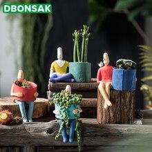 Cartoon Character Ceramic Flower Pot Succulents Abstract Human Face Home Desktop Vase Micro Landscape Decoration