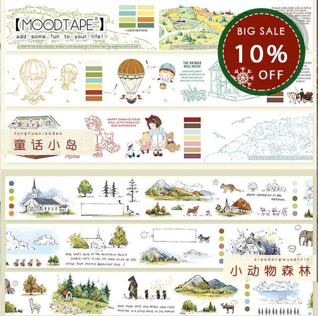 Moodtape washi bant orman hayvan peri masalı çocuk Scrapbooking albümü diy el yapımı dekorasyon çıkartması maskeleme kağıt bant