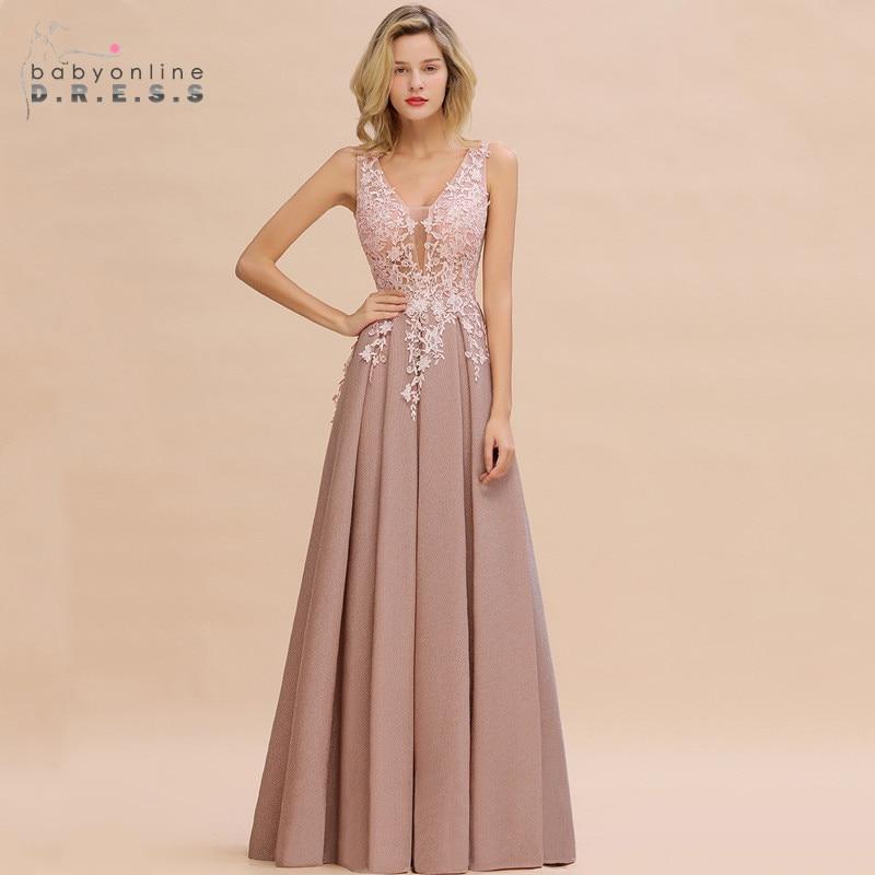 Robe De Soiree Longue Dusty Rose Lace Long Evening Dress Vestido De Festa Sexy Deep V-neck Appliques Evening Prom Gowns