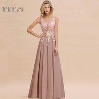 Robe de Soiree Longue Dusty Rose Lace Long Evening Dress Vestido de Festa Sexy Deep V neck Appliques Evening Prom Gowns