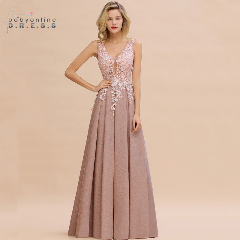 Robe de Soiree Longue Dusty Rose Lace <font><b>Long</b></font> <font><b>Evening</b></font> <font><b>Dress</b></font> Vestido de Festa <font><b>Sexy</b></font> Deep V-neck Appliques <font><b>Evening</b></font> Prom Gowns image