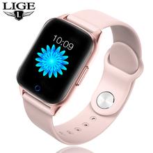 LIGE inteligentny zegarek kobiety wodoodporny Sport dla IOS Smartwatch z androidem z funkcją telefonu kobieta pulsometr pomiar ciśnienia krwi tanie tanio BANGWEI CN (pochodzenie) Nie wodoodporne STAINLESS STEEL Skóra wdrażania wiadro Moda casual Cyfrowy Papier 40mm Silikon