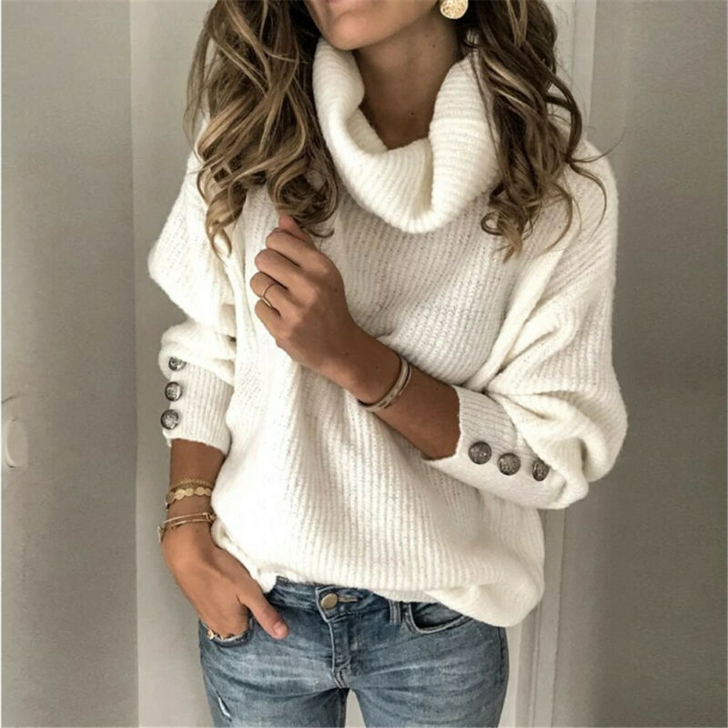 Casual Turtleneck Warm Knitted Sweater Autumn Winter Long Sleeve Pullover Tops Elegant Women Rivet Button Jumper Pull Femme 3XL