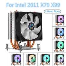 Enfriador de CPU de 3 pines, ventilador de 4 tubos de calor, disipador térmico de refrigeración LED RGB para X79 X99 115x X58 X79 X299 y AMD para HUANANZHI, 2011