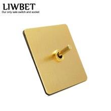 LIWBET Interruptor de pared con Panel de cobre y 1 Gang / 2 Gang / 3 Gang 2 Way, interruptor de luz con palanca de cobre