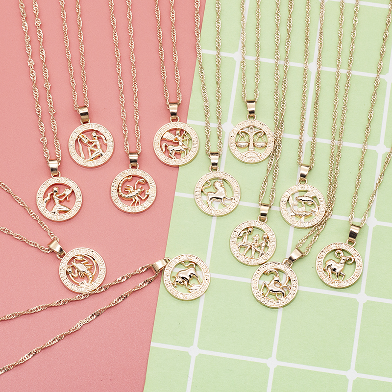 Necklace with Women's Roman Pendant 12 Zodiac Signs Yellow Rose Gold Full Women's Round Necklace