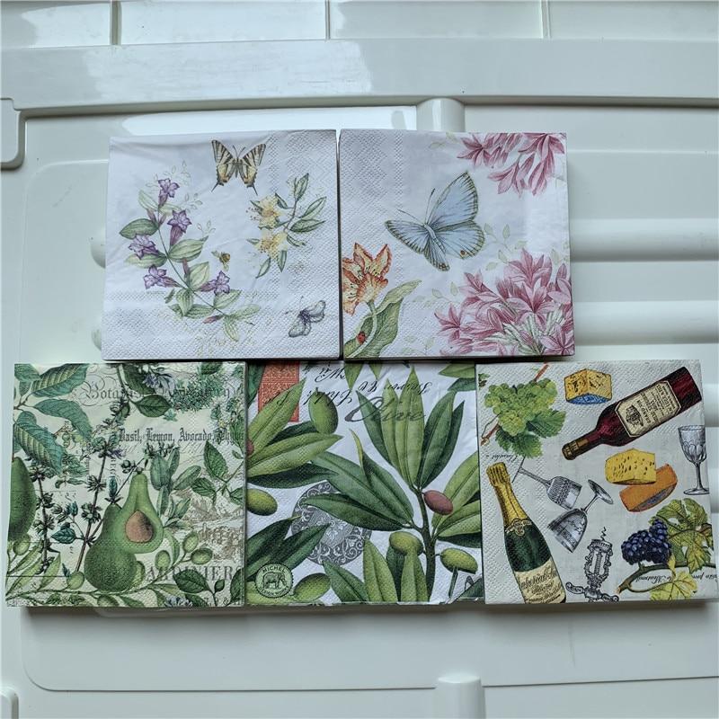 25cm Decoupage Paper Napkin Wedding Tissue Elegant Flower Butterfly Fruit Mango Pear Wine Handkerchief Birthday Party Serviettes
