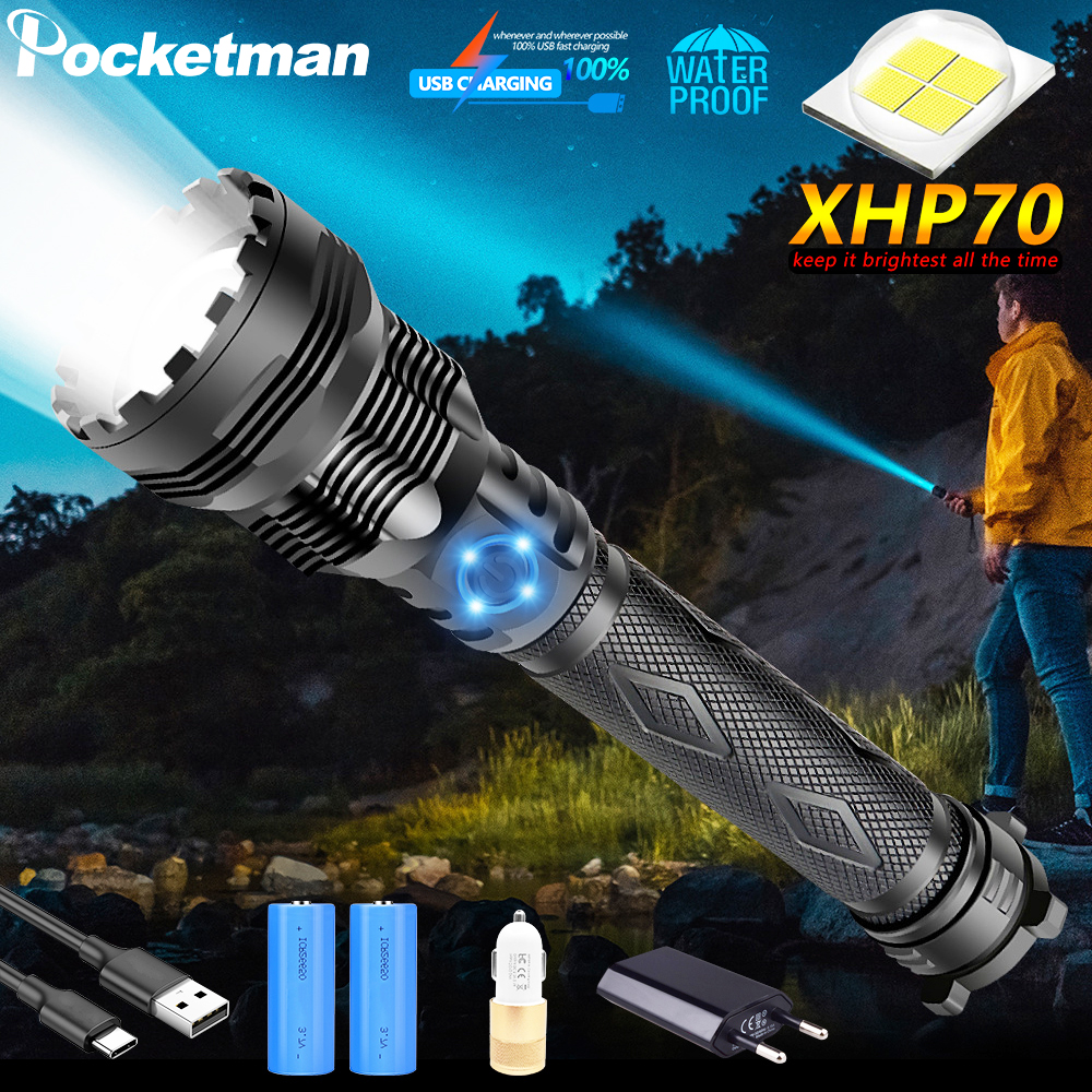 XHP70 LED Flashlight USB Rechargeble XHP50 LED Torch Zoomable Flashlight Tactical Torch Use 18650 26650 Rechargeable Battery