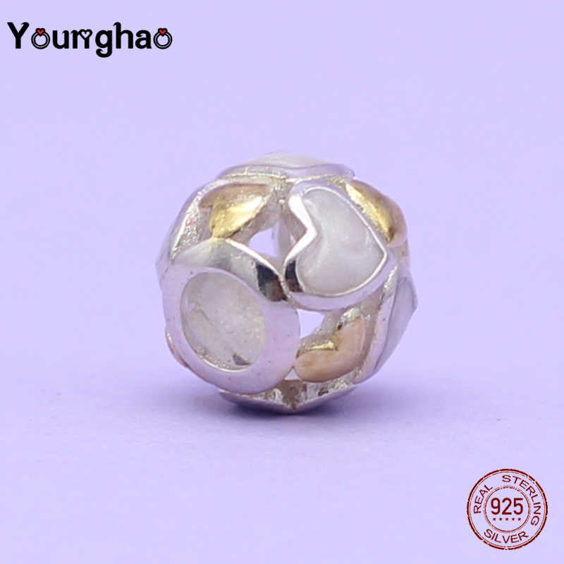 Younghao แท้ 925 เงินสเตอร์ลิงทำคริสต์มาสลูกปัดคลิปสำหรับเครื่องประดับ Fit Pandora Charm Bracelets