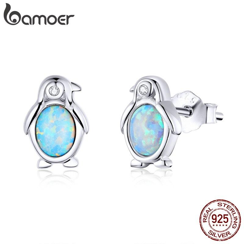 Bamoer Penguin Animal Open Stud Earrings For Women 925 Sterling Silver Studs Jewelry Ear Pins Brincos 2020 New Design SCE827