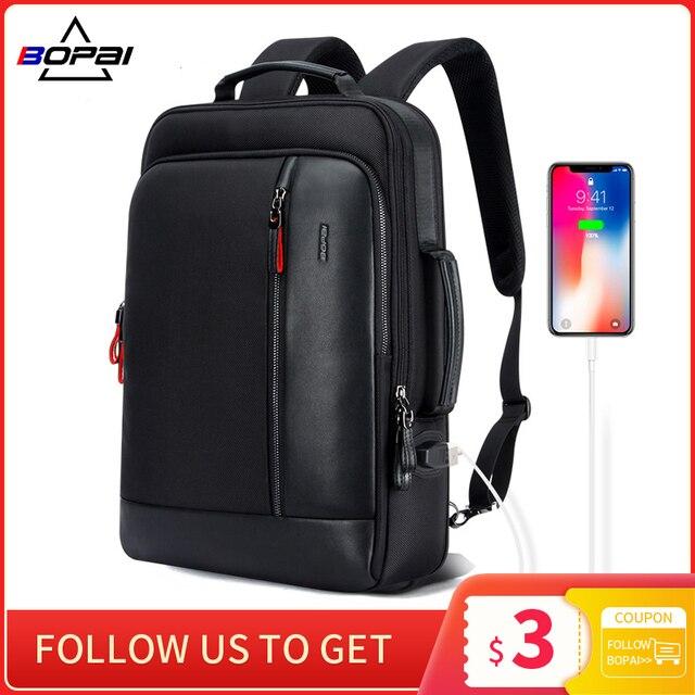 BOPAI Anti Theft Enlarge Backpack USB External Charge 15.6 Inch Laptop Backpack Men Waterproof School Back Pack Bag for Teenager