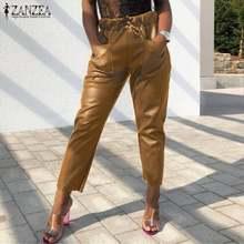 ZANZEA Cuoio DELL'UNITÀ di ELABORAZIONE delle Donne Pantaloni Alla Moda Dei Pantaloni di Autunno di Casual Elastico In Vita A Lungo Palazzo Pantalon Solido Femminile Rapa Più Il Formato