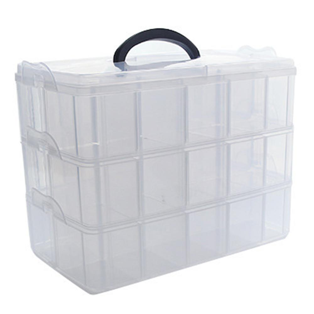 Clear Storage Box Stationery Organizer Cosmetics Tape Art Supplies Case Holder
