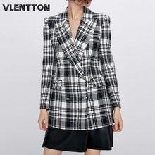 Женские винтажные клетчатые блейзеры и куртки на весну осень