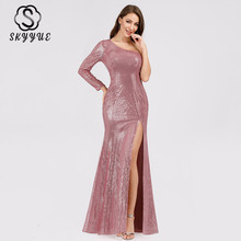 Skyyue Evening Dress One Shoulder Women Party Dresses Long Length Sequined Robe De Soiree Floor Length Evening Gowns 2019 C562 grace karin evening dresses long one shoulder floor length chiffon formal prom dress gowns robe de soiree longue 2018