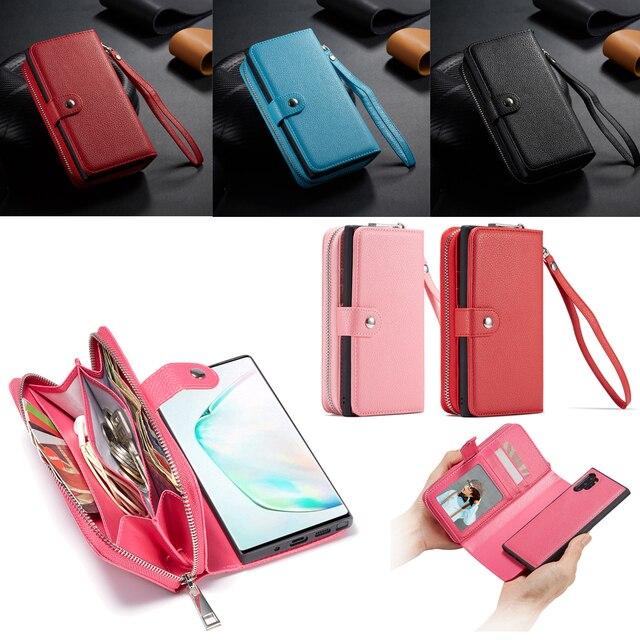 Dây Kéo Ví Bao Da Dành Cho Samsung Galaxy Samsung Galaxy S10 Plus S10e S9 Plus S8 Plus Note 10 Plus 9 8 Túi Xách túi Đựng Điện Thoại Ốp Lưng Flip Cover