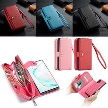 Fermeture à glissière portefeuille en cuir étui pour samsung Galaxy S10 Plus S10e S9 Plus S8 Plus Note 10 Plus 9 8 sac à main pochette coque de téléphone