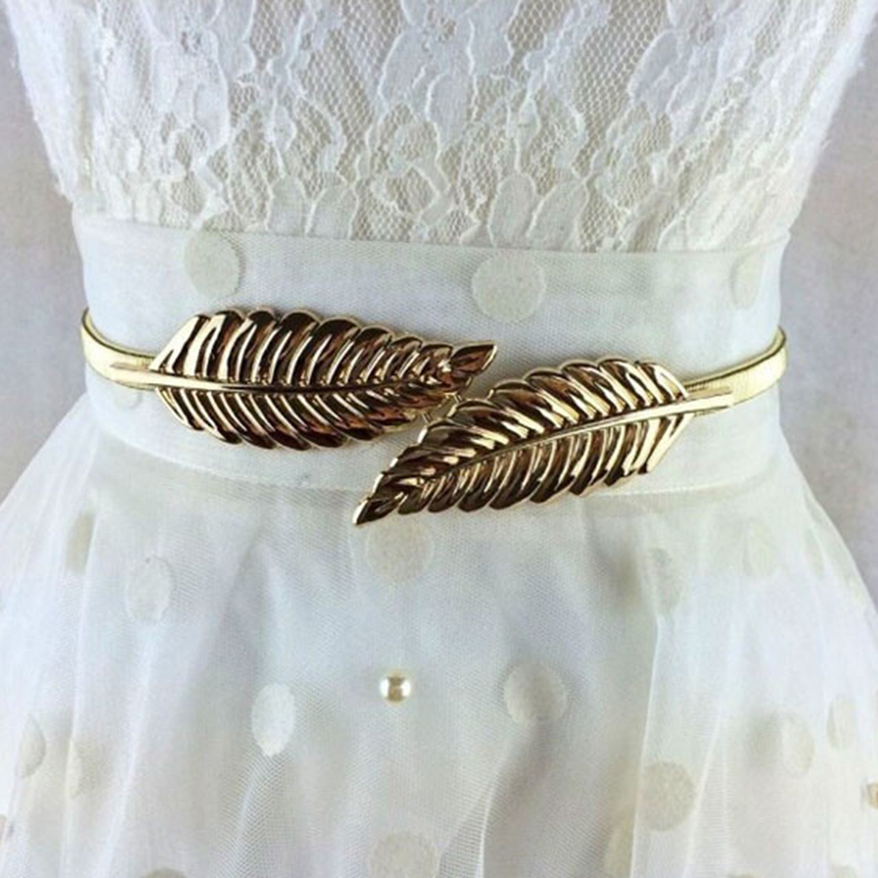 Women's Fashion Metal Golden Silver Leaves Chain Belt Waist Band Elasticity Waist Belt For Dress Skirt Bands Female