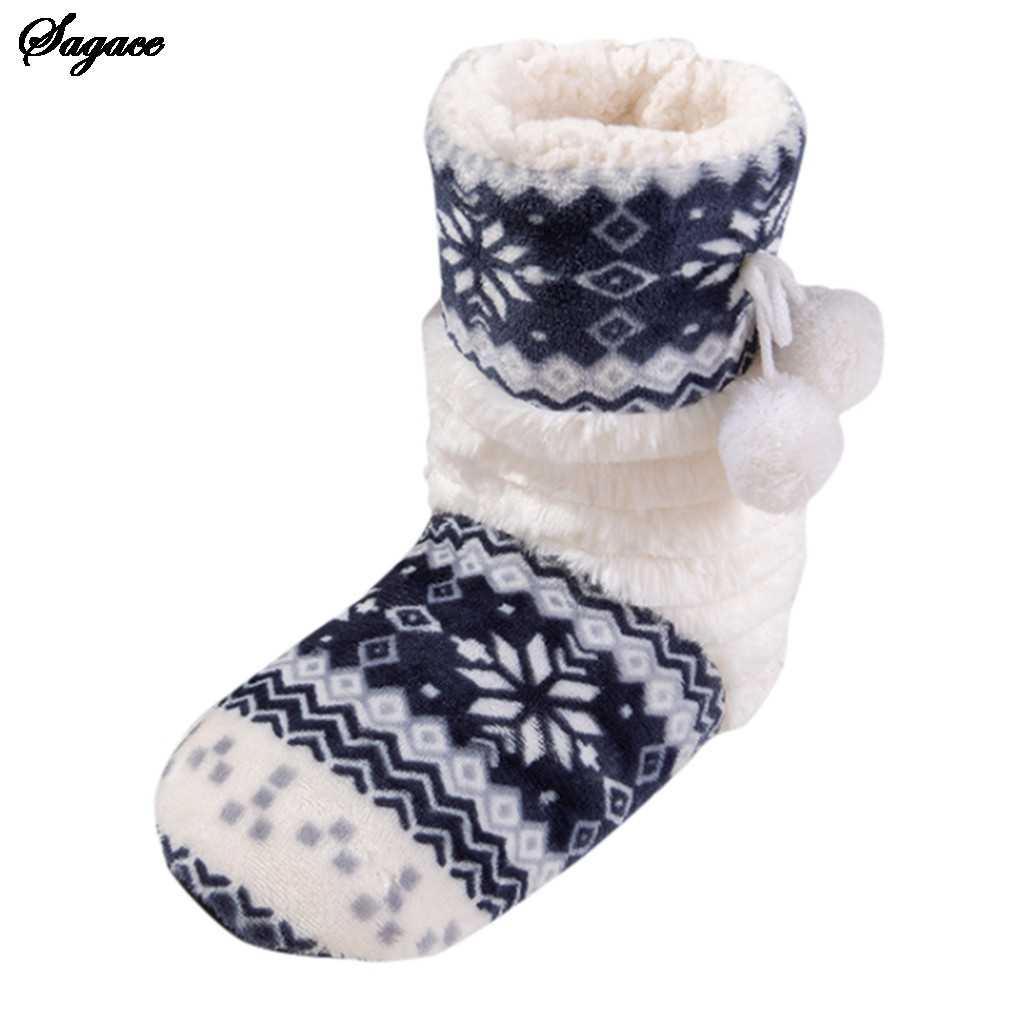 SAGACE Boots Women Flat Cotton Floral Ball Long Tube Winter Shoes Boot Home Ladies Boots Femme Winter Boots Women