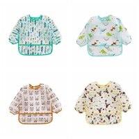 Waterproof Baby Burp Cloths 1Y 6Y Unisex Infant Toddler Baby Smock Feeding Accessories Cartoon Long Sleeved Bib Burp Cloths