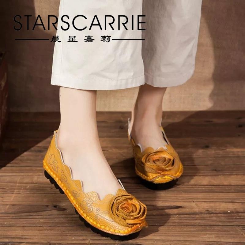 Original retro handmade shoes  heel cowhide flower single shoes national style leather soft sole Doudou shoes