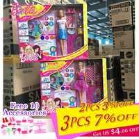 Genuino Barbie Marca Finta Bambola Giocattolo Che Compongono La Barbie Divertente Giocattolo della ragazza Con 5 Buste Accessori Linda boneca regalo FGC36