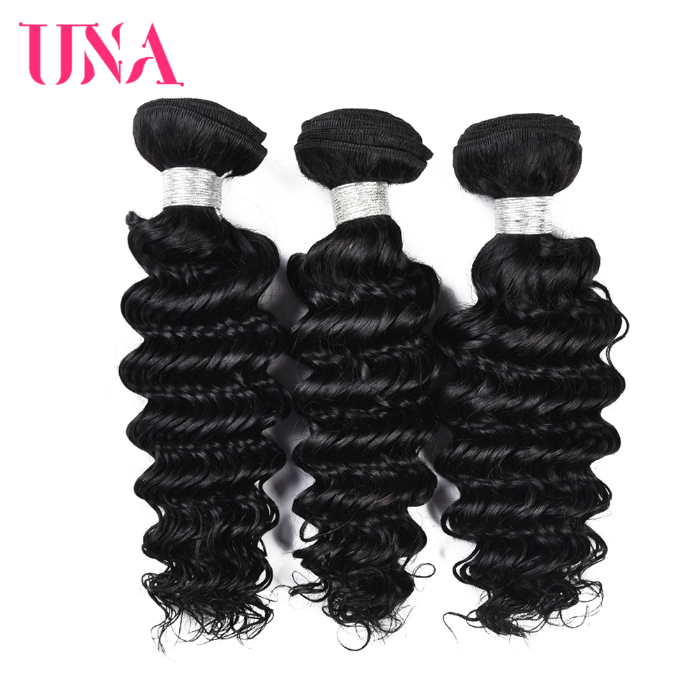 """UNA Deep Wave 8""""-28"""" 6A Middle Ratio Brazilian Remy Hair Bundles 3 Bundles Deal 100% Human Hair Bundles 100g Color #1 #1B #2 #4"""