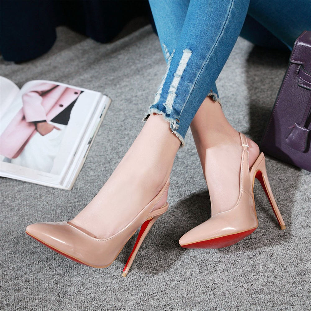 SARAIRIS 2019 Classic Large size 48 <font><b>sexy</b></font> <font><b>12cm</b></font> thin <font><b>high</b></font> <font><b>Heeled</b></font> Slingback woman shoes women Pumps Party wedding shoes female image
