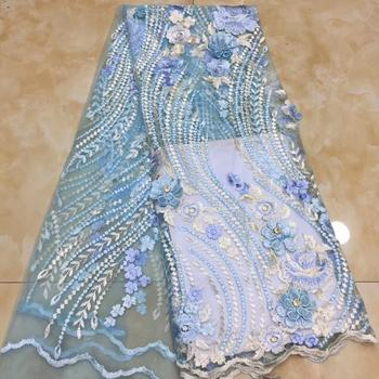 Madison New Arrival African 3D Flower Lace Fabric Latest French Mesh Lace Fabric Embroidered Nigerian Lace Fabrics For Wedding