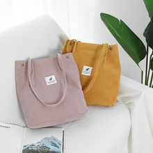 цена на Hot Sale Tote Bags for Women Corduroy Casual Shoulder Bag Solid Color High Capacity Shopping Beach Bag Foldable Women Handbags