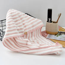 Hair-Hat Turban Shower-Cap Bath-Towel Stripe 25--65cm Quick-Absorbent Coral-Fleece Dry