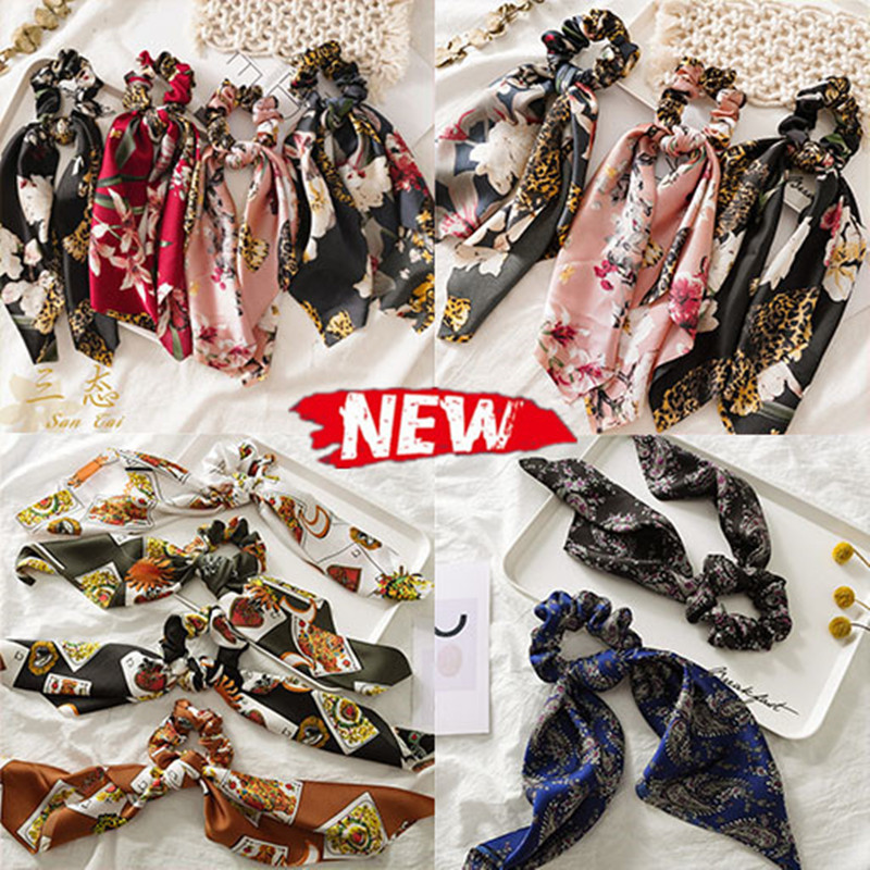 New Boho Women Streamers Scrunchies Polka Dot Floral Print Elastic Bow Hair Rope Girl Hair Ties Korean Hair Accessories Headwear