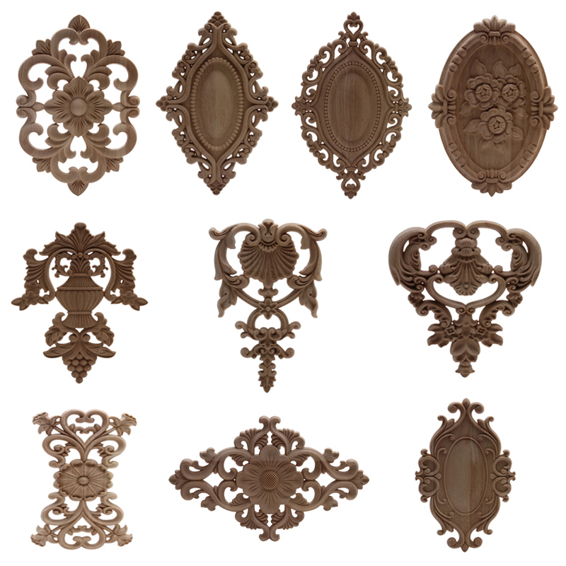 Wood Figurines Onlay Wood Applique Wood Decal Decor Antique European Long Large Floral Wooden Furniture Cabinet Walls Hot Sale